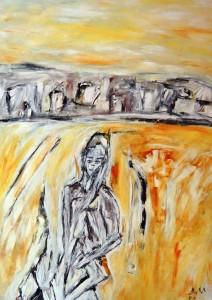 Das Tor der bewegten Gedanken, Öl / Plakatkarton 2011, 95,6 x 67,9 cm