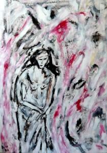 Der Magnet der Flügel nimmt das verschlossene Gesicht gefangen, Öl / Plakatkarton 2011, 95,6 x 67,9 cm