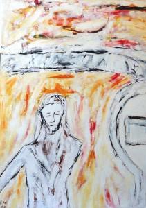 Der gewundene Weg, Öl / Plakatkarton 2011, 95,6 x 67,9 cm