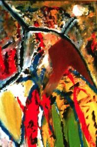 Die Apokalypse II, Öl / Plakatkarton 2002, 95,6 x 67,9 cm
