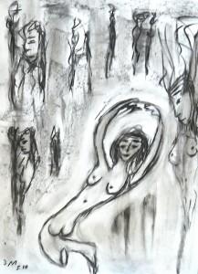 Der Reigen, Zeichenkohle 2010