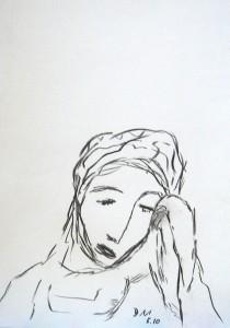 Die Empfindsame, Zeichenkohle 2010