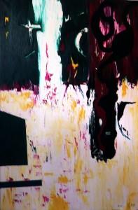Der Engel des Blutes anderer Herzen, Öl / Leinwand 2000, 150 x 100 cm