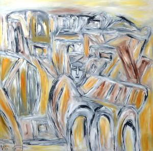 Der Taumel der verteidigten Jahre, Öl / Leinwand 2013, 100 x 100 cm