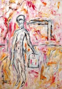 Der Seelenträger, Öl / Plakatkarton 2011, 95,6 x 67,9 cm