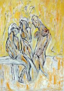 Die Verliebten, Öl / Plakatkarton 2013, 95,6 x 67,9 cm