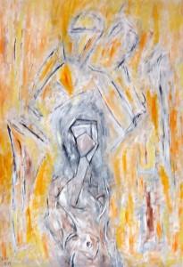 Das umschlossene Haupt meiner Flügel, Öl / Plakatkarton 2013, 95,6 x 67,9 cm