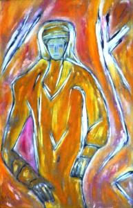Die Hand ersetzt das Herz, Öl / Hartfaser 2013, 105,4 x 68,7 cm
