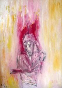 Der Überbringer des dichten Nebels, Öl / Plakatkarton 2013, 95,6 x 67,9 cm