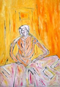 Die Anmut verfängt sich im Netz ihrer Lider, Öl / Plakatkarton 2013, 95,6 x 67,9 cm