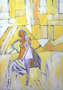 Die milde Erbauerin, Öl / Plakatkarton 2012, 95,6 x 67,9 cm