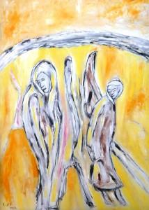 Die scheue Begegnung, Öl / Plakatkarton 2012, 95,6 x 67,9 cm