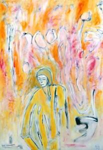 Die Ungeduld der Hoffnung, Öl / Plakatkarton 2013, 95,6 x 67,9 cm