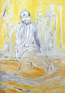 Die Sanftmut lässt ihr Herz erhellen, Öl / Plakatkarton 2013, 95,6 x 67,9 cm