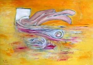 Durch die Spalte deines Lachens entfliegt ein heulendes Tier, Öl / Plakatkarton 2013, 67,9 x 95,6 cm