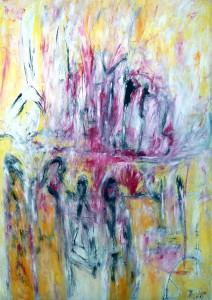 Die Mauern der Huldigung, Öl / Plakatkarton 2013, 95,6 x 67,9 cm