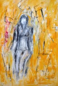 Unter den Zweigen des Windes, Öl / Plakatkarton 2013, 95,6 x 67,9 cm