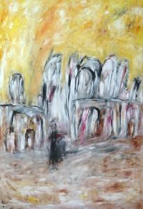 Der Ort der Verlassenen, Öl / Plakatkarton 2013, 95,6 x 67,9 cm