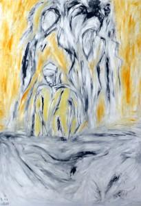 Der Seelenwächter, Öl / Plakatkarton 2013, 95,6 x 67,9 cm