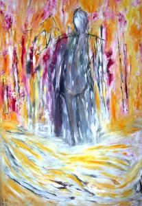 Die Leichtigkeit des Unbekannten, Öl / Plakatkarton 2013, 95,6 x 67,9 cm