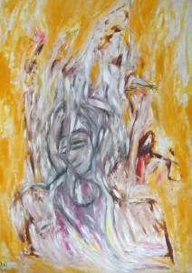 Der Engel der Sanftmut, Öl / Plakatkarton 2013, 95,6 x 67,9 cm