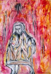 Der berührte Bote der Erde, Öl / Plakatkarton 2013, 95,6 x 67,9 cm