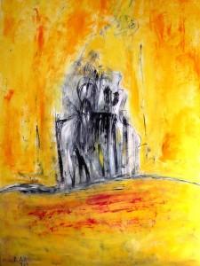 Der Spiegel meiner Seele, Öl / Plakatkarton 2013, 95,6 x 67,9 cm