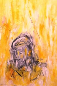 Im Grase vergesse ich meine Erde, Öl / Plakatkarton 2013, 95,6 x 67,9 cm
