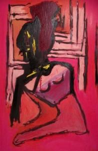 Das Zeitfenster, Öl / Karton 2006, 112 x 71 cm