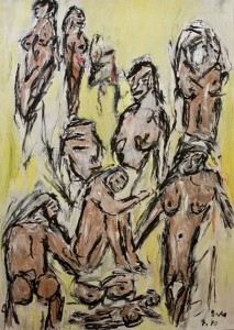 Im Garten der Lüste, Öl / Zeichenpapier 2010, 59,1 x 41,7 cm