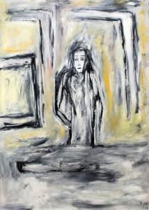 Das Fenster des Verwunderns, Öl / Plakatkarton 2012, 95,6 x 67,9 cm