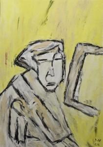 Theodor Heuss, Öl / Zeichenpaper 2010, 59,1 x 41,7 cm