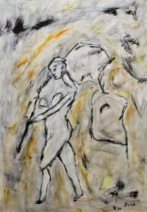 Der Blick der die Ferne nährt, Öl / Zeichenpapier 2010, 59,1 x 41,7 cm