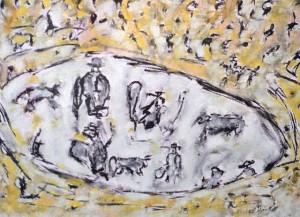 Die Arena der Wunden, Öl / Zeichenpapier 2010, 41,7 x 59,1 cm