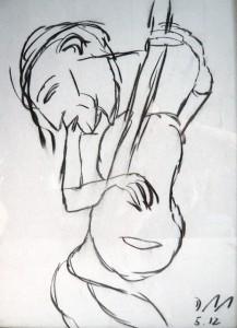 Die Schere der Augen schneidet die Melodie,  Zeichenkohle 2012