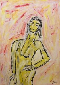 Die Müdigkeit der Begierden, ÖL / Zeichenpapier 2010, 59,1 x 41,7 cm