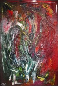 Der Himmel strömt gewölbt in den Leib, Öl-Folie / Holz 2002, 110,4 x 73,4 cm