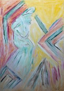 Im Taumel der Freiheit, Öl-Pastel / Plakatkarton 2008, 95,6 x 67,9 cm