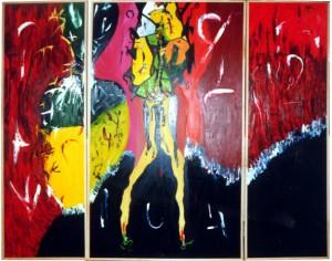 Ich (Tryptichon), Öl / Holz 1998-1999, 170 x 200 cm