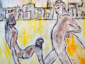 Der Menschenfänger, Öl / Zeichenpapier 2010, 41,7 x 59,1 cm