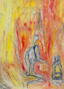 Der Traum des selbstvergessenen Lächelns, Öl /Plakatkarton 2012, 95,6 x 67,9 cm