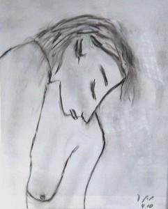 Die Morgenröte die Sie vergisst lässt ihren Kopf senken, Zeichenkohle 2010
