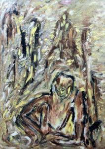 Der Lebensblick, Öl / Plakatkarton 2018, 95,6 x 67,9 cm