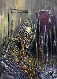 Der Weg der Erinnerung, Öl / Plakatkarton 2019, 95,6 x 67,9 cm