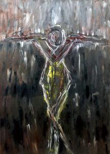 Die Kreuzigung, Öl / Plakatkarton 2019, 95,6 x 67,9 cm