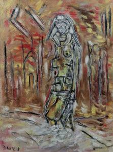 Der Ort der Stille, Öl / Karton 2018, 79,5 x 58 cm