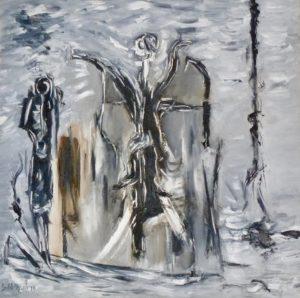 Erlöster Engel, Öl / Leinwand 2019, 100 x 100 cm