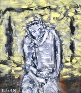 Der Hellsichtige, Öl / Holz 2019, 38,5 x 34 cm