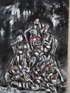 Der bestürzte Zauber, Öl / Karton 2019, 68,4 x 48,7 cm