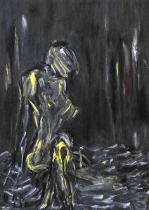 Der stumme Schrei, Öl / Pappe 2020, 68,4 x 48,7 cm